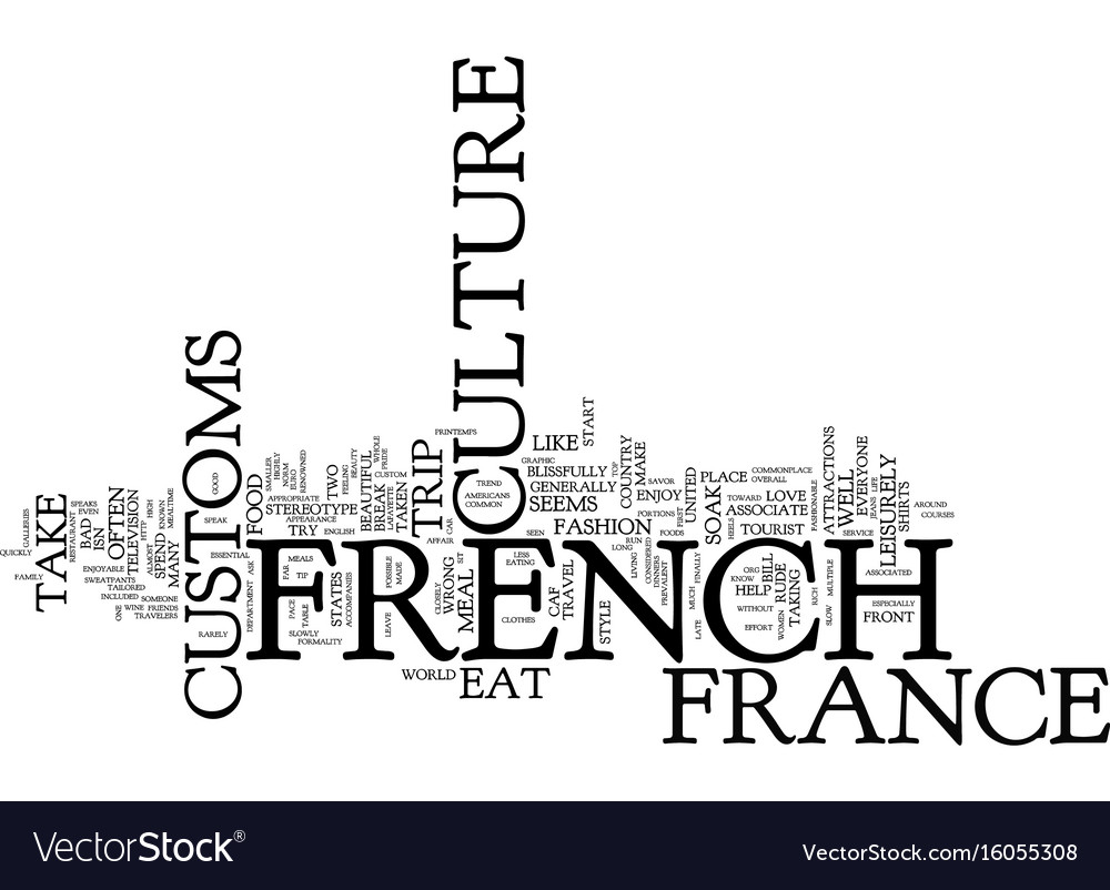 The beauty of french culture and customs text vector image