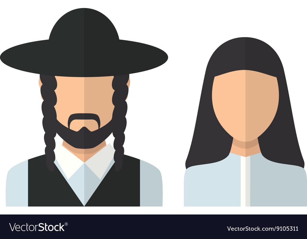 Judaic man and woman vector image