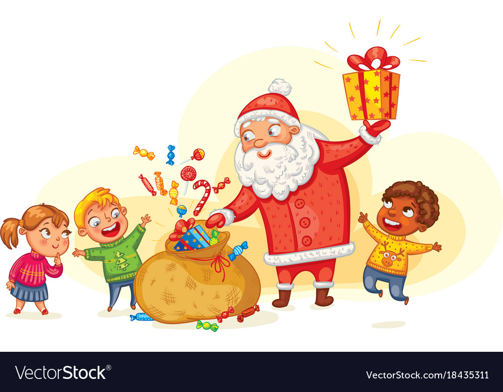santa claus brings gifts to children vector image - Santa Claus Children