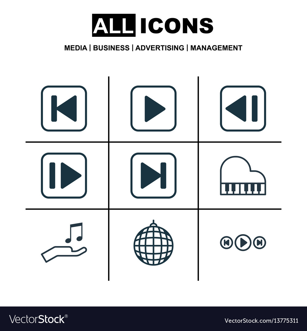 Set of 9 audio icons includes audio buttons skip vector image