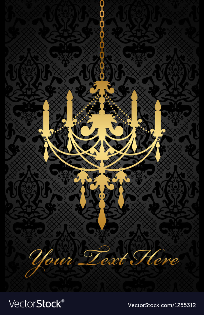 Black background with gold chandelier vector image