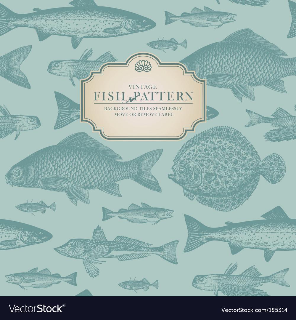 Retro fish pattern Vector Image