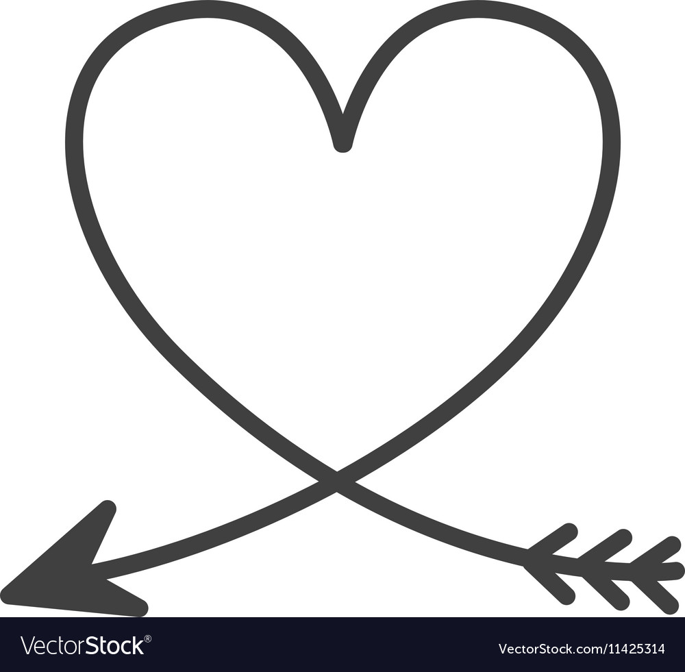 Silhouette of heart with arrow vector image