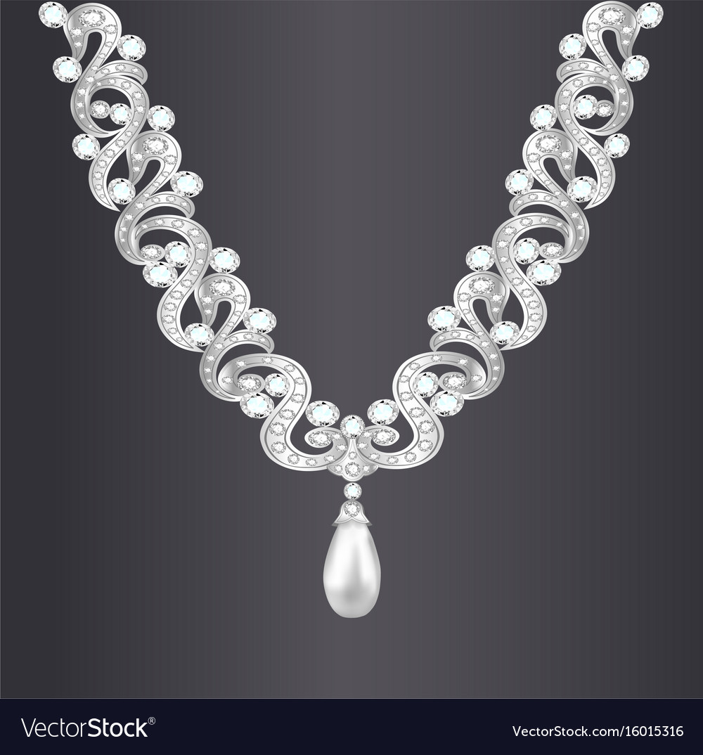A womans necklace with precious stones vector image