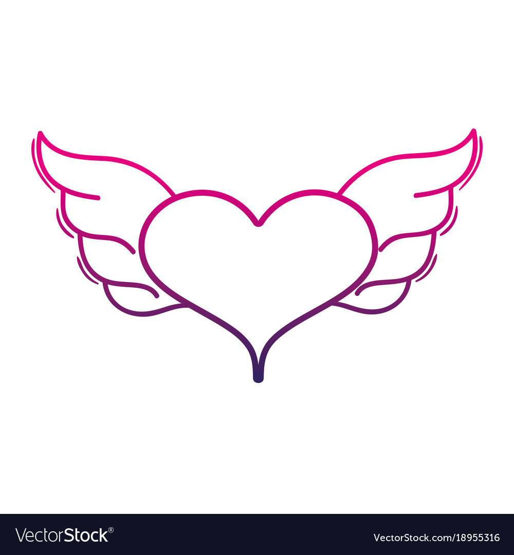 Color line heart with wings symbol love art vector image color line heart with wings symbol love art vector image biocorpaavc Images
