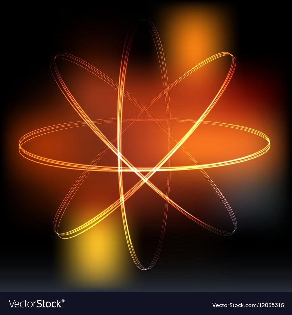 Neon lights atom model vector image