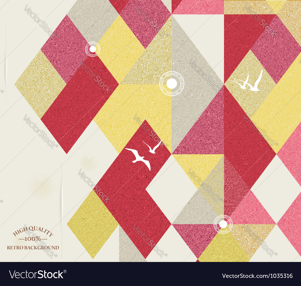 Retro Geometric Background with birds vector image