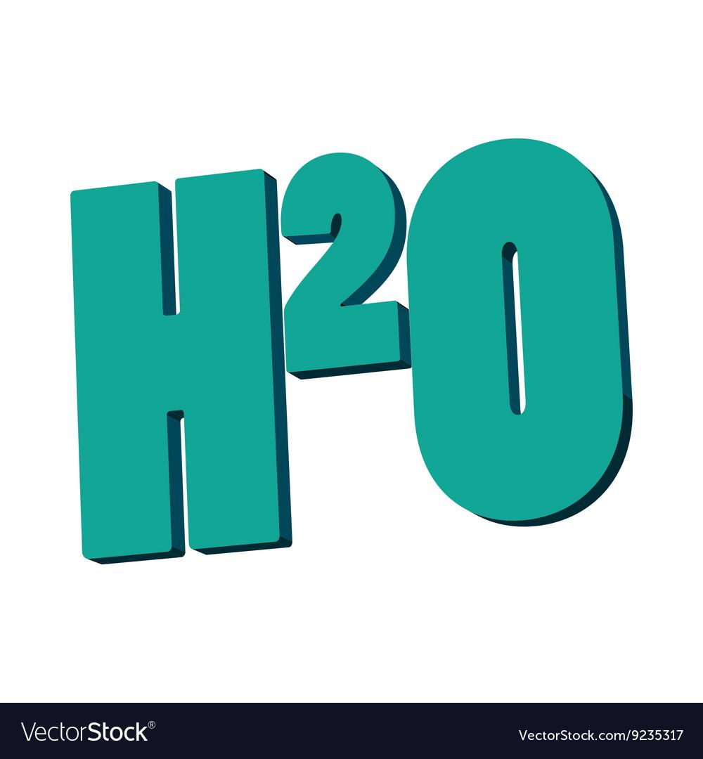 H20 water formula icon cartoon style vector image