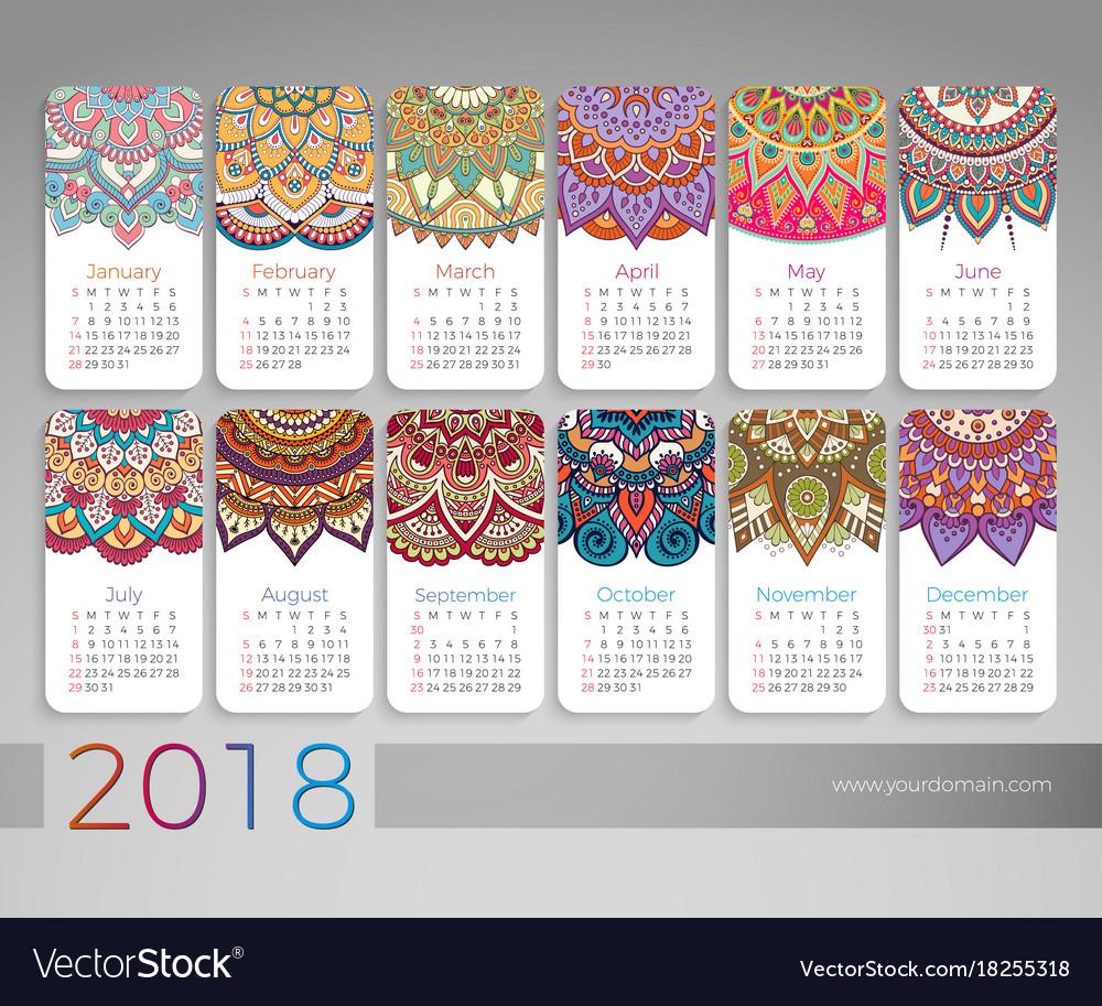 February 2018 Calendar Vintage : Calendar vintage decorative elements vector image