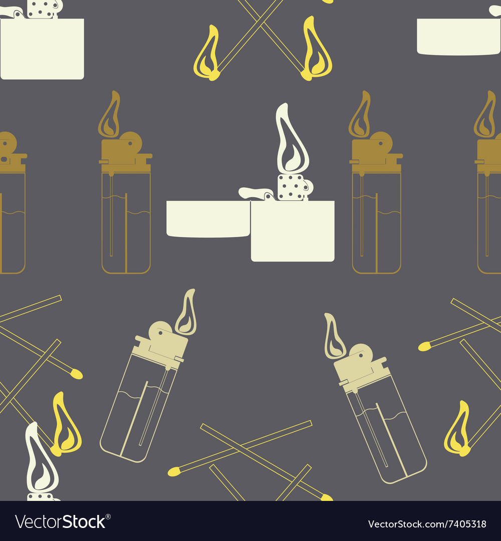 Seamless background with fire lighter matches vector image