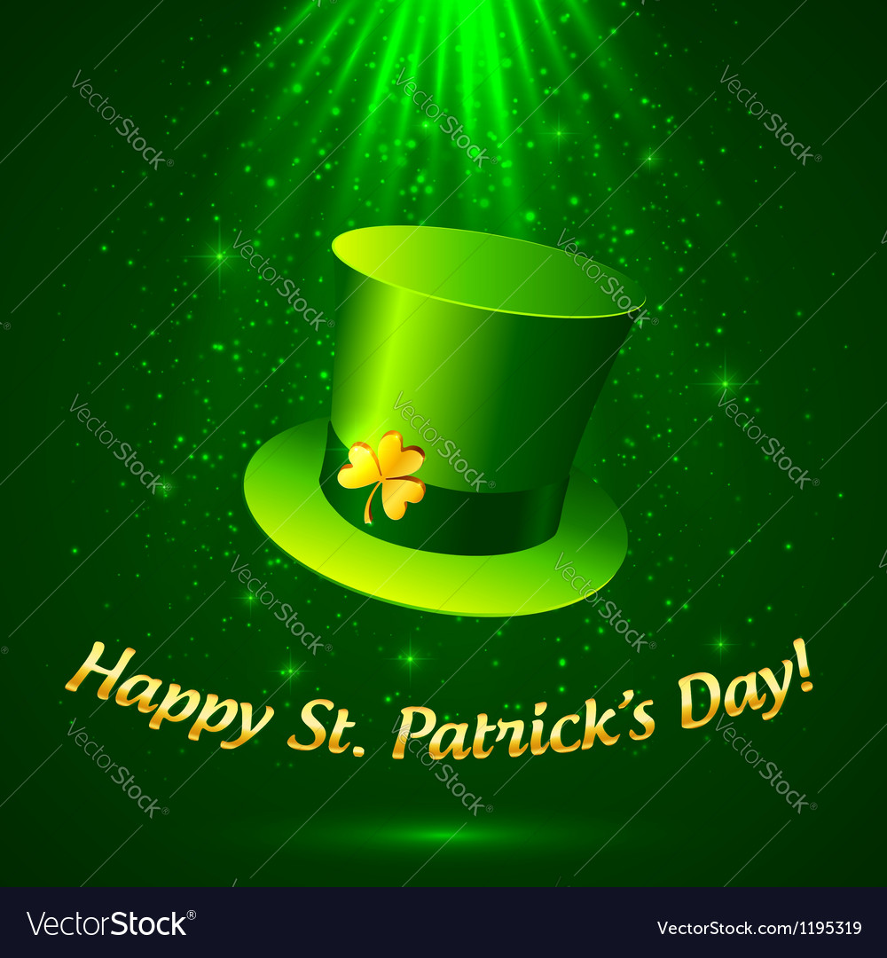 Green Patricks leprechaun hat with golden clover vector image