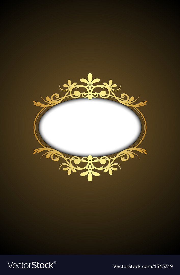 Brown vintage frame with gold ornament vector image