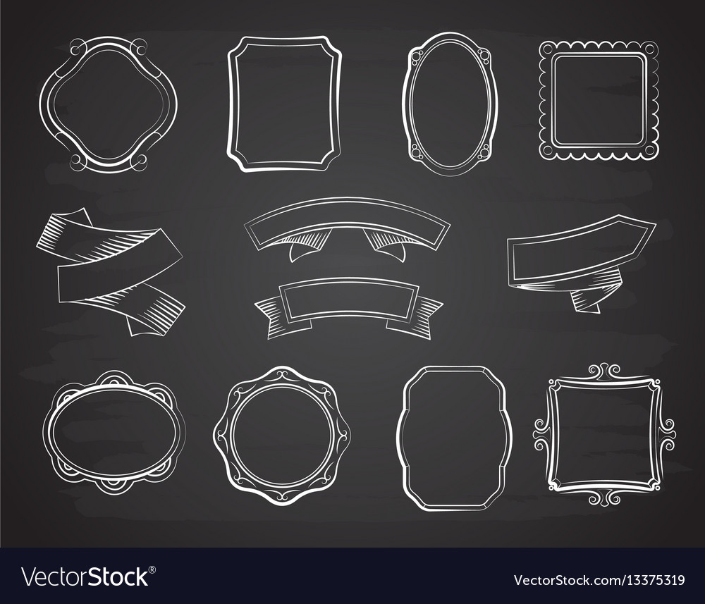 Vintage chalkboard hand drawn ribbon banners vector image