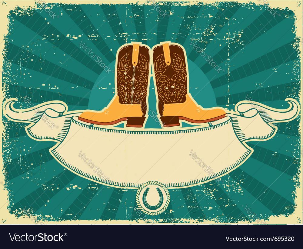 Cowboy boots card vector image