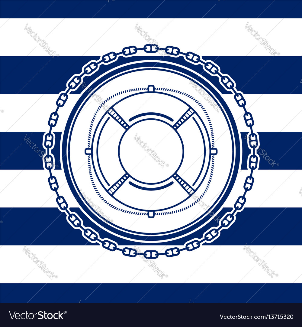 Sea emblem with a lifebuoy vector image