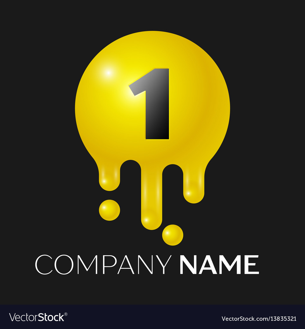 Number one splash logo yellow dots and bubbles vector image