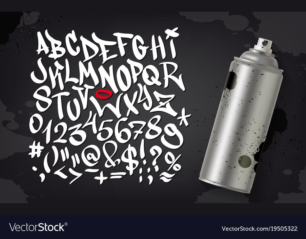 Hand written graffiti font alphabet set on vector image