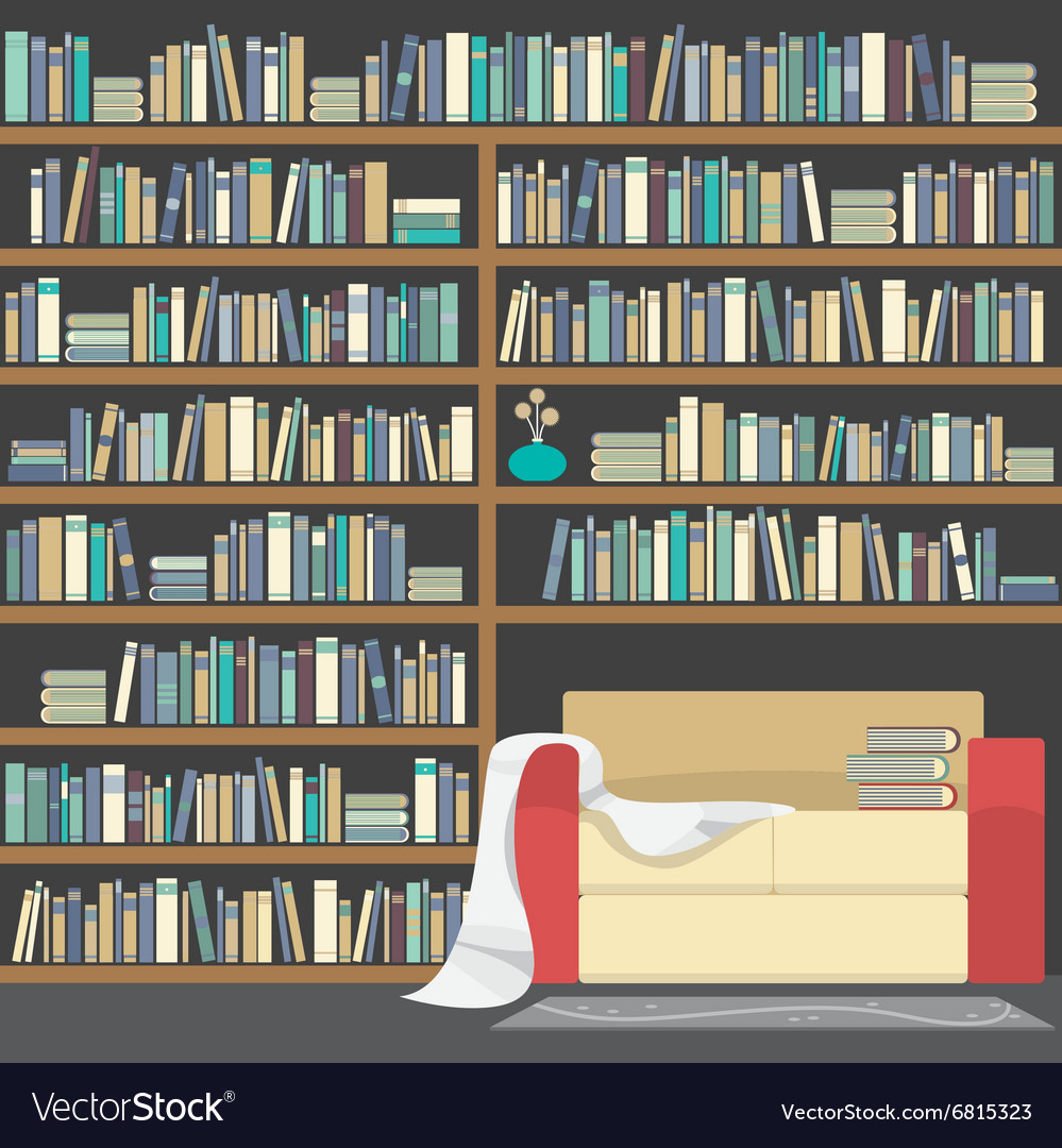 Modern Sofa With Huge Bookshelf vector image