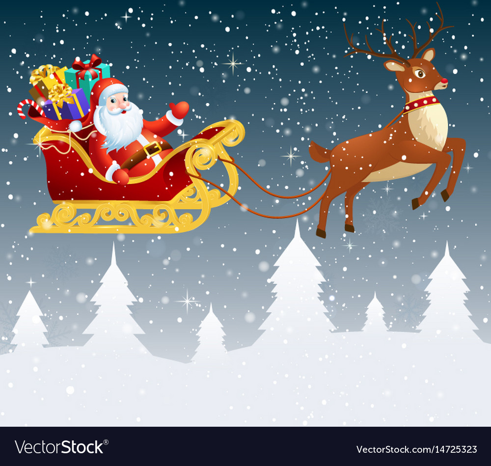Santa claus in a sleigh with a bag full of gifts vector image
