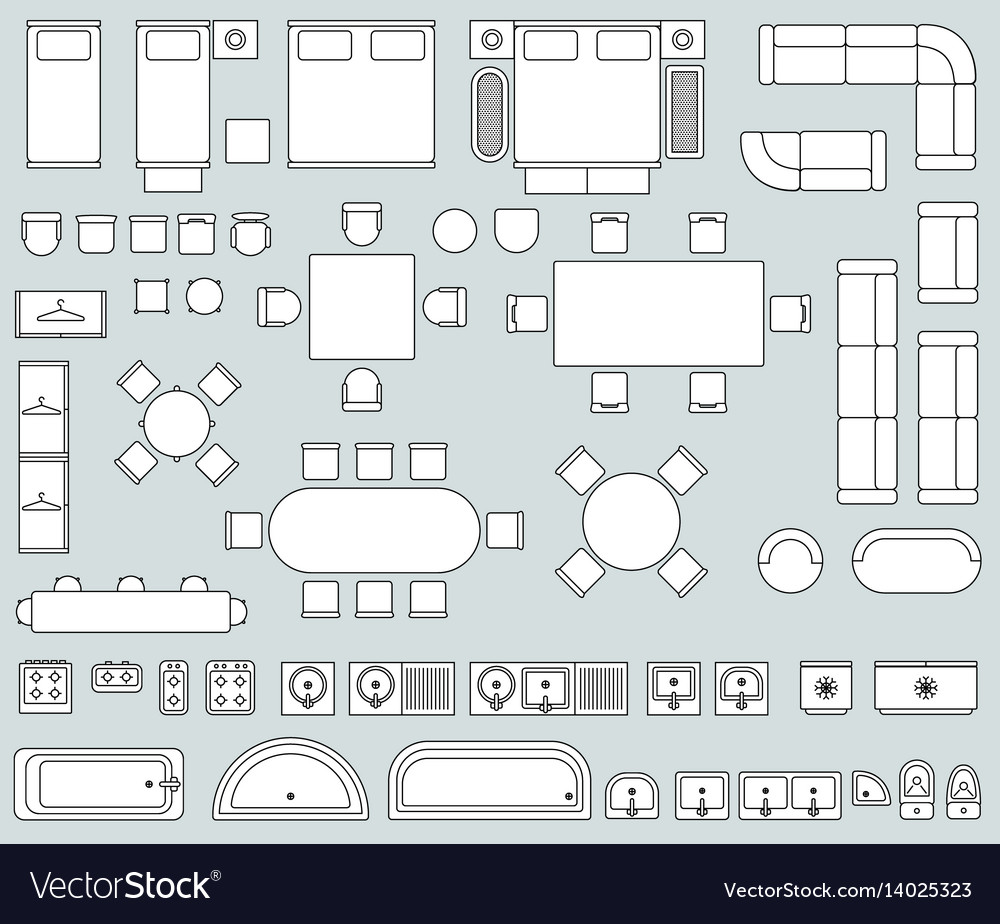 top view interior with line furniture icons vector image top view interior with line furniture icons vector image