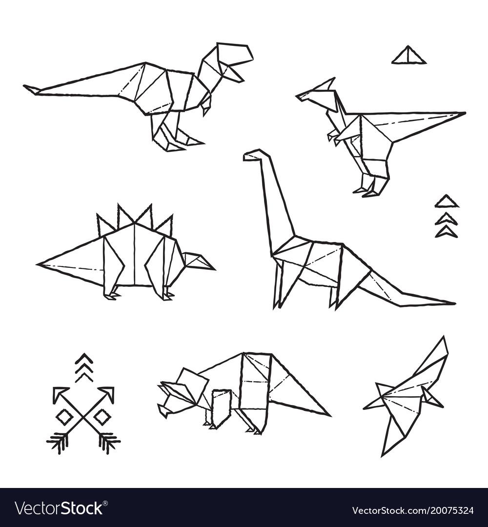 Ink origami tattoos dinosaurs set royalty free vector image ink origami tattoos dinosaurs set vector image jeuxipadfo Choice Image