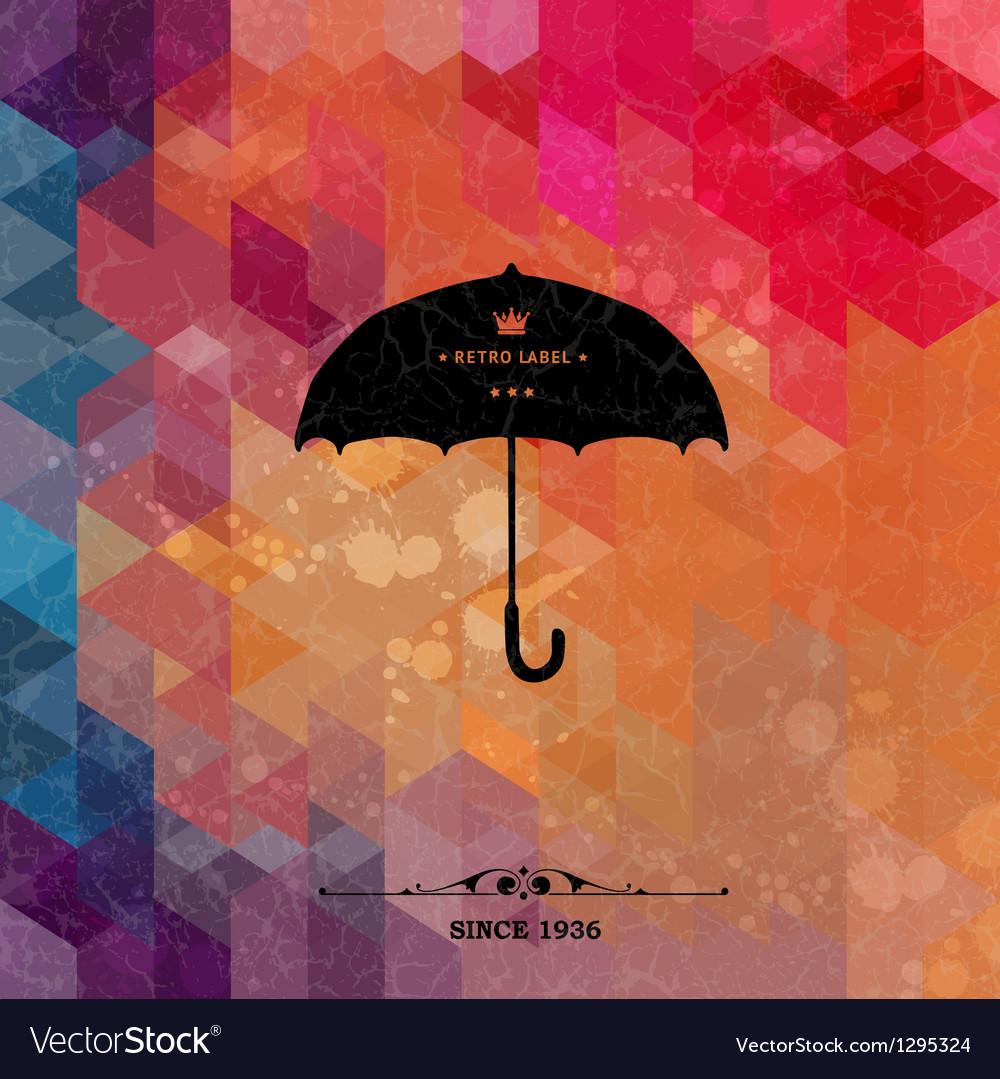 Retro umbrella on colorful geometric background vector image