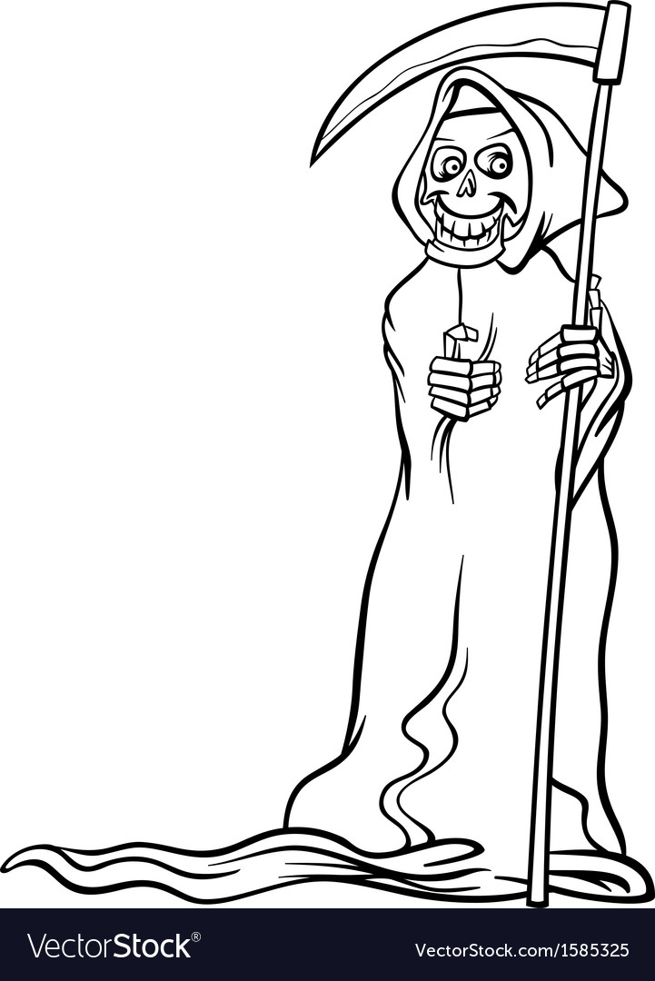 Death skeleton cartoon for coloring book Vector Image