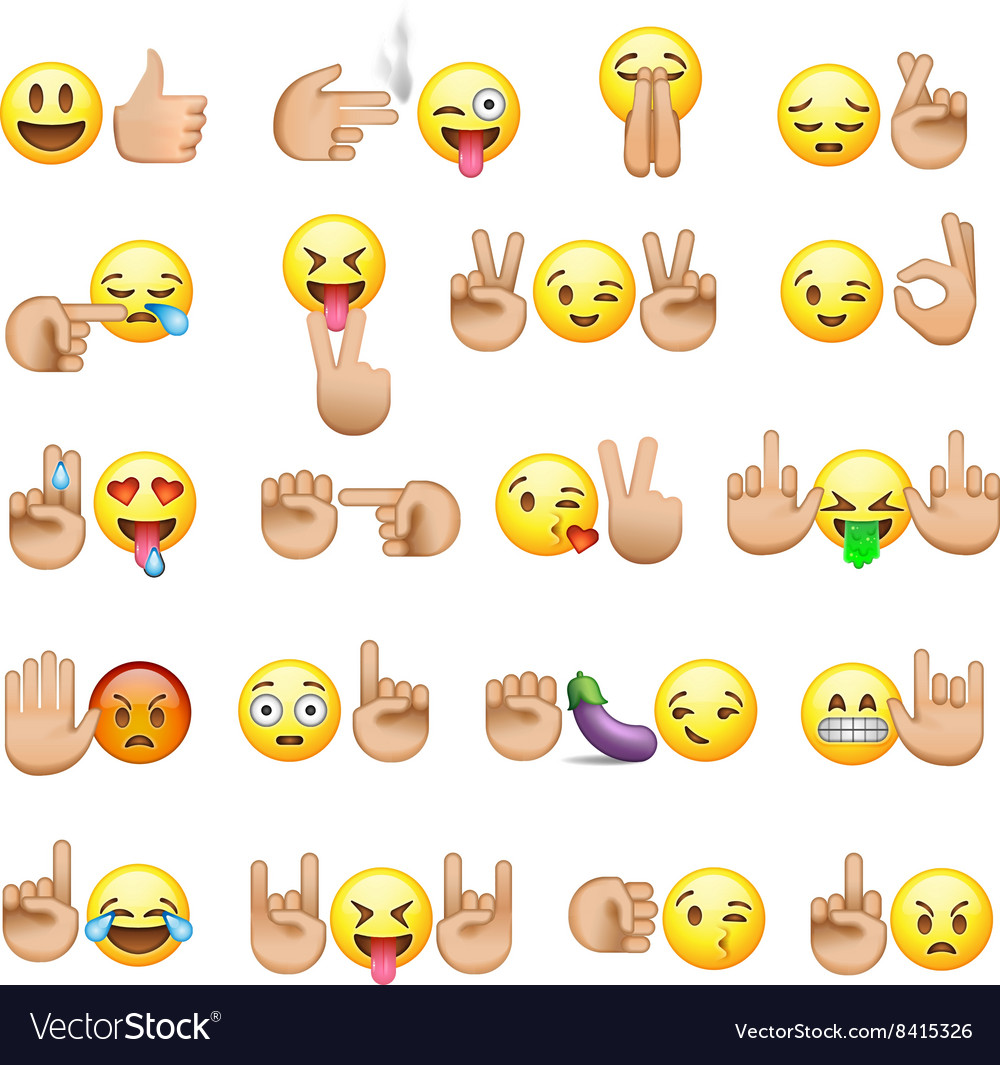 Set of smiley faces and hands icons and emoji vector image