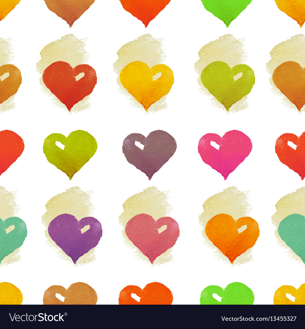 Watercolor hearts seamless pattern vector image