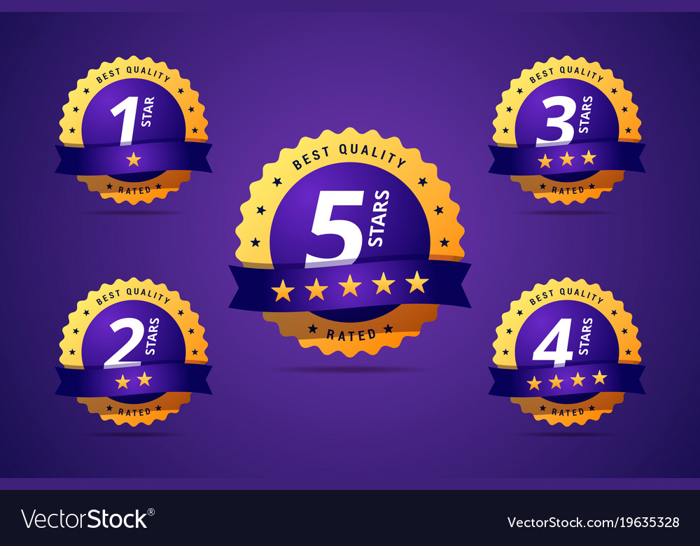 Set of a rating stamp badge hotel rating vector image
