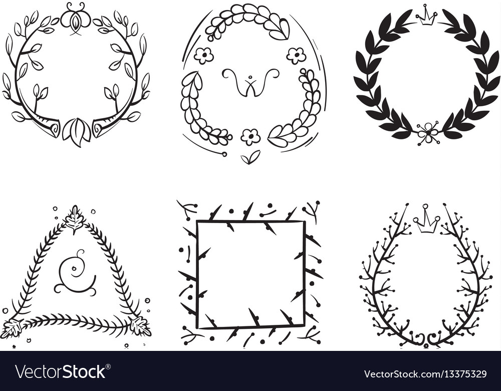 Doodle rustic branch frames hand drawn vector image
