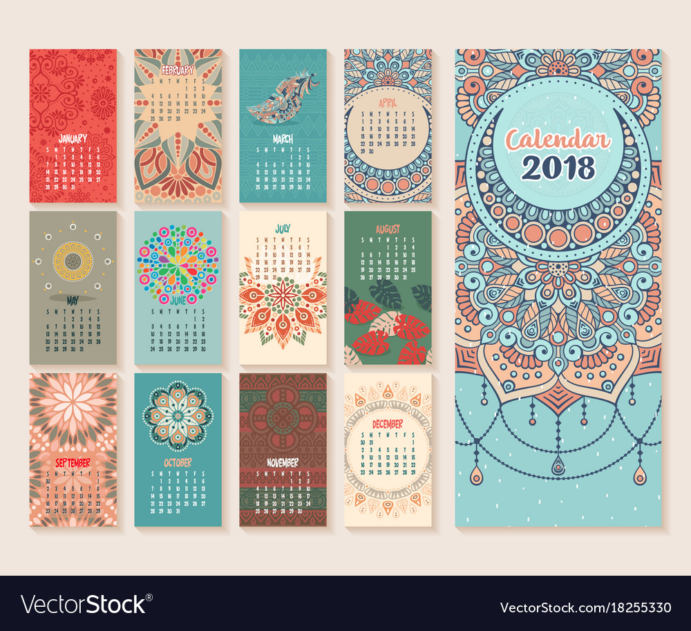 Calendar Vintage Vector : Calendar vintage decorative elements vector image