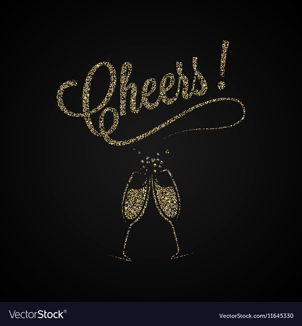 Cheers Vintage Gold Champagne Background vector image
