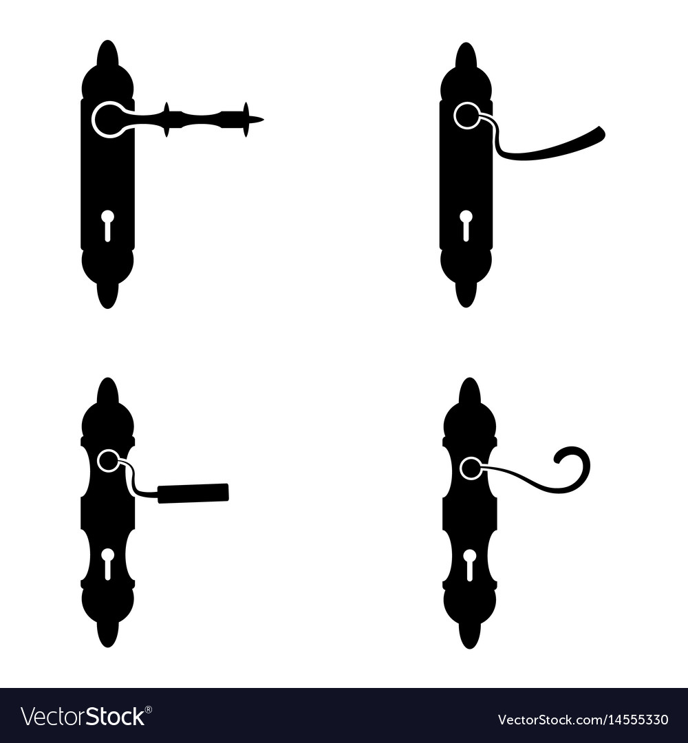 Door handle icon set vector image