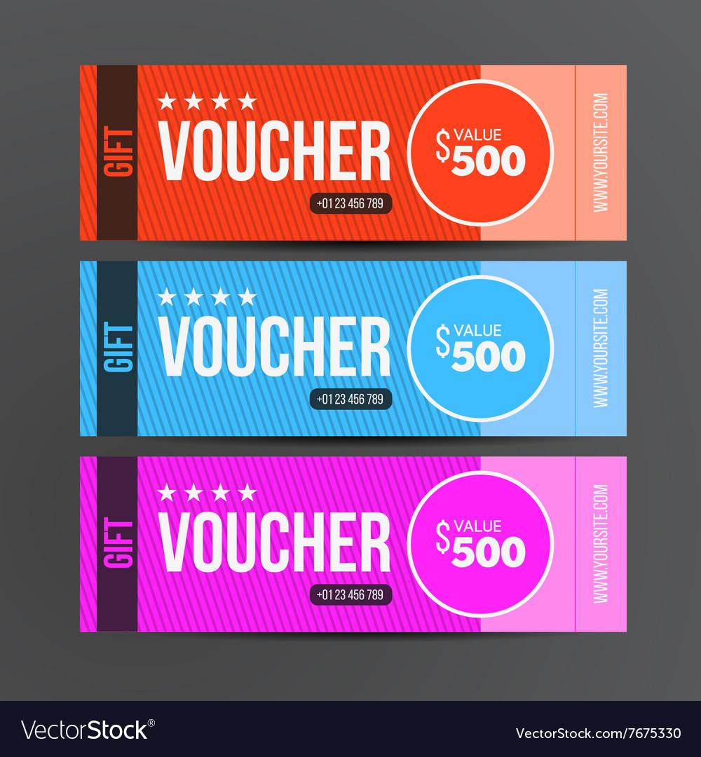 gift voucher template coupon design royalty free vector. Black Bedroom Furniture Sets. Home Design Ideas