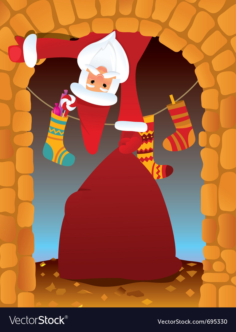 santa claus in the fireplace royalty free vector image