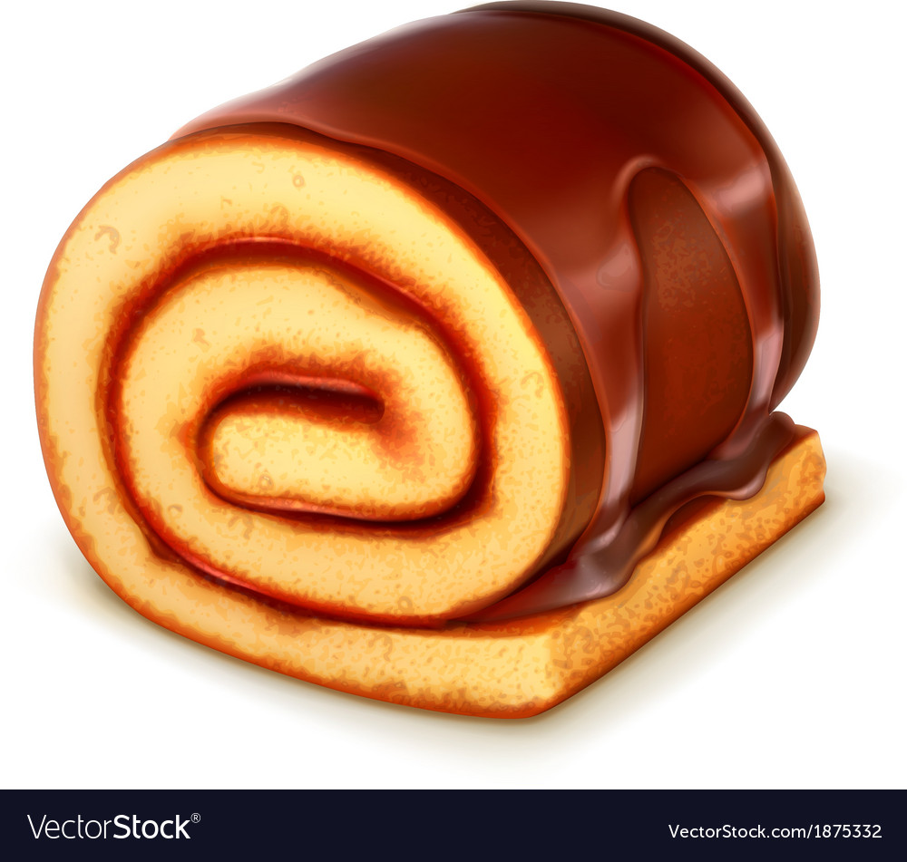 Chocolate roll cake detailed vector image