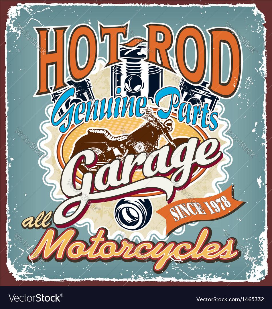 Hotrod motorcycles garage crack vector image
