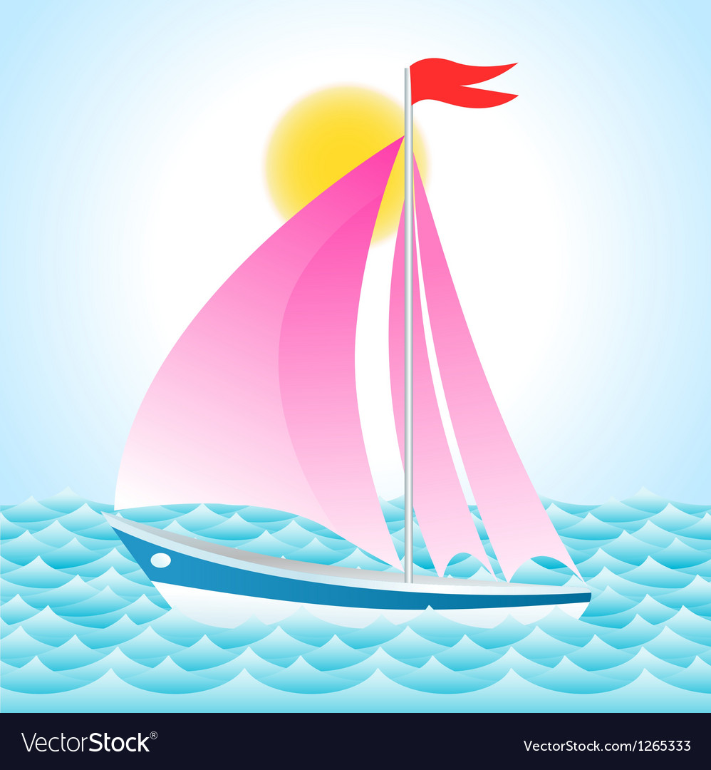 Yacht on sea Vector Image