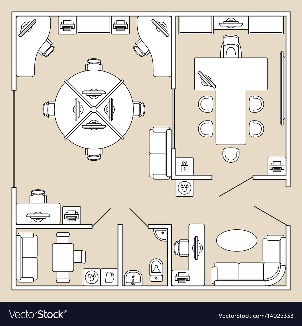 Office interior top view architecture plan vector image