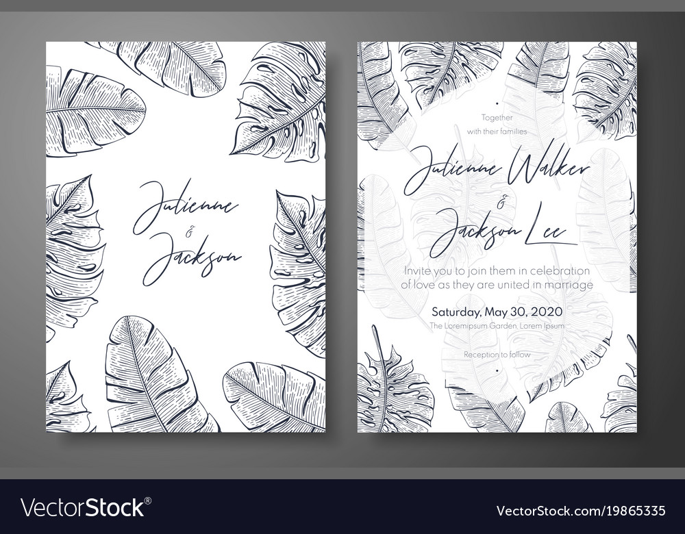Vintage wedding invitation templates with tropical