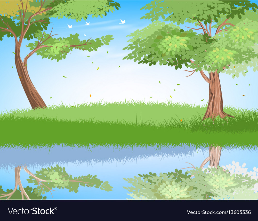 Lake in nature scene