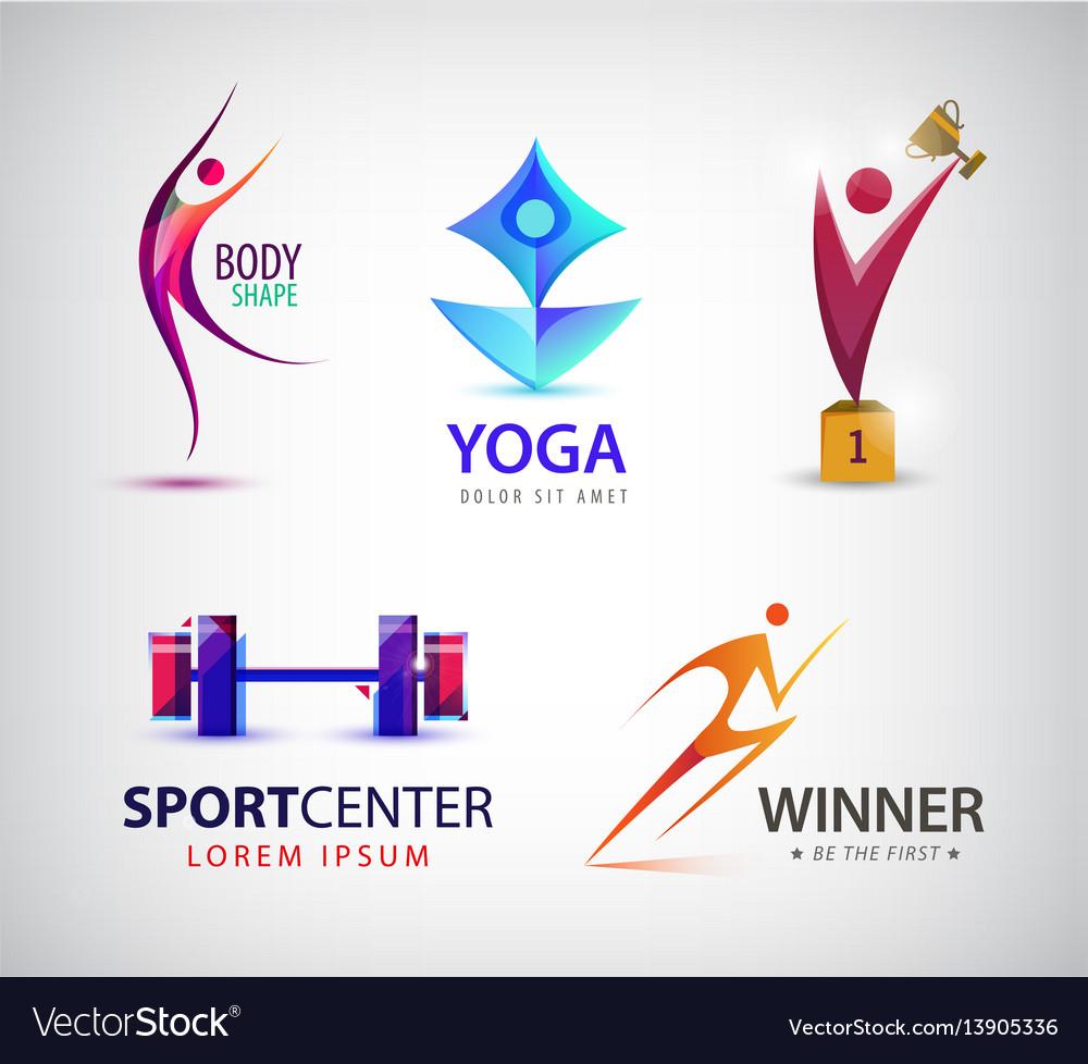 Set of sport logos man runner gym yoga vector image