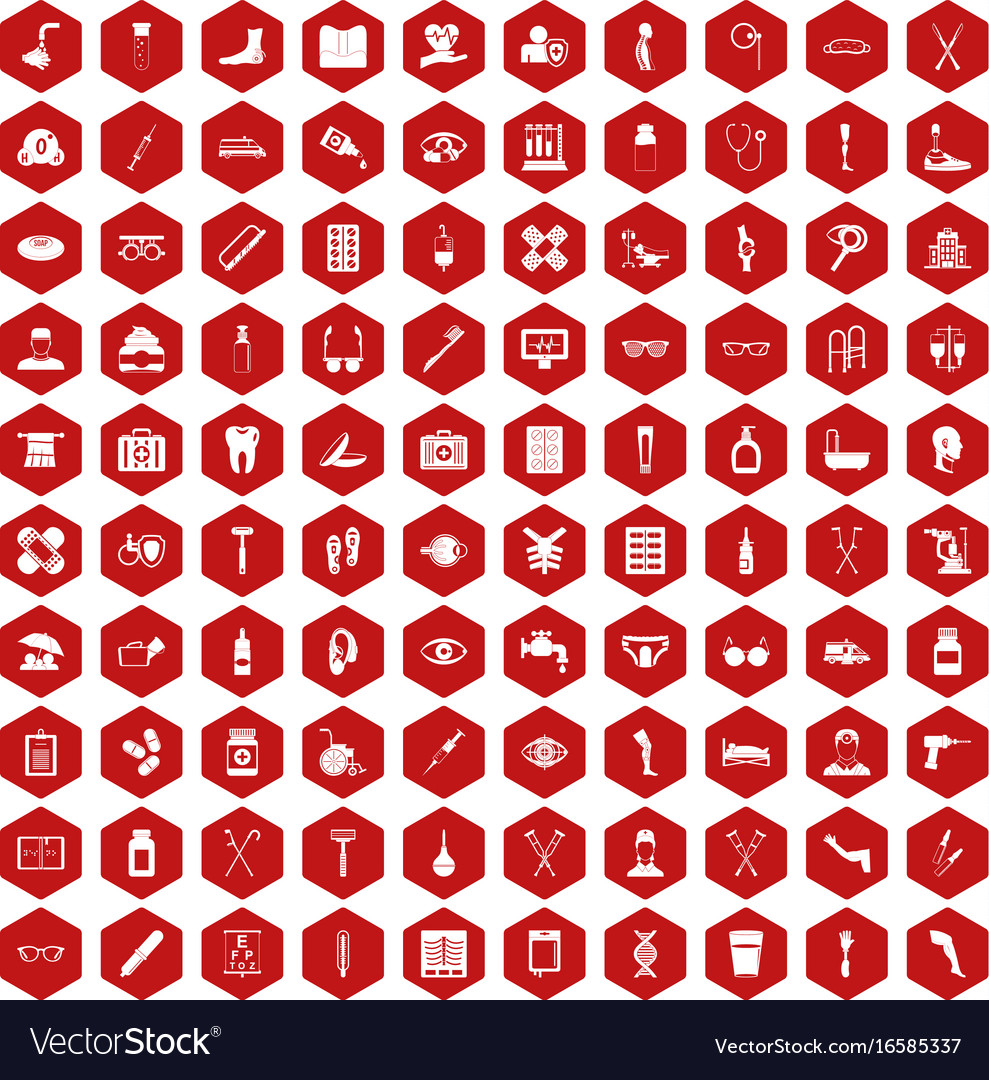 100 disabled healthcare icons hexagon red vector image