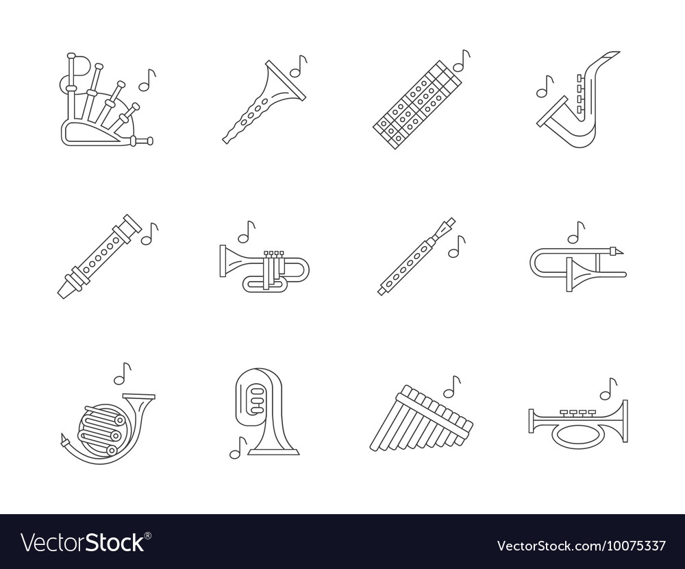 Musical brass instruments flat line icons vector image