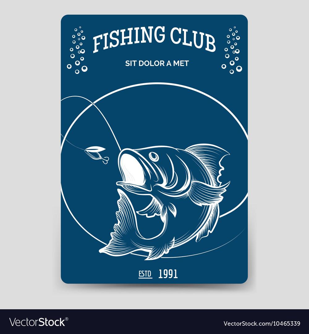 Fishing club brochure flyer template vector image