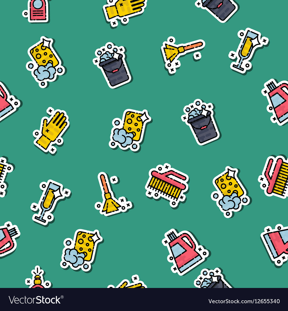 Cleaning icons set pattern vector image