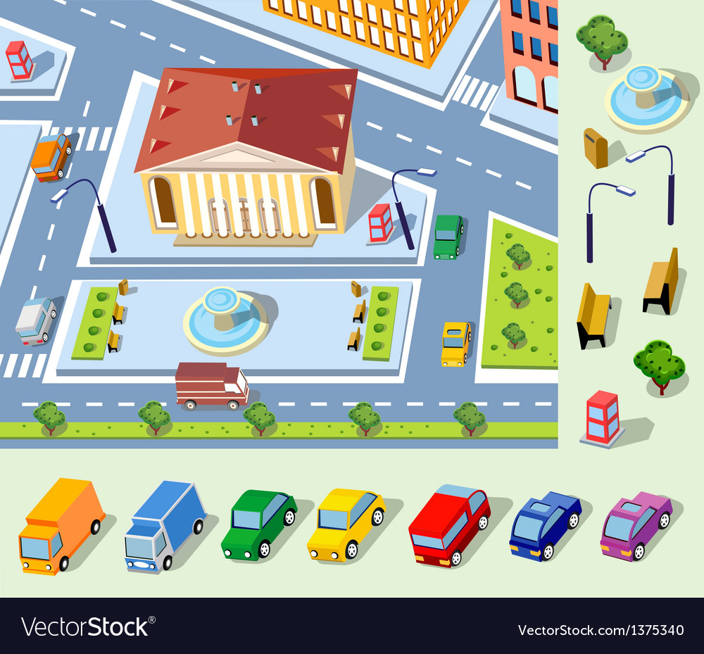 Isometric plan vector image