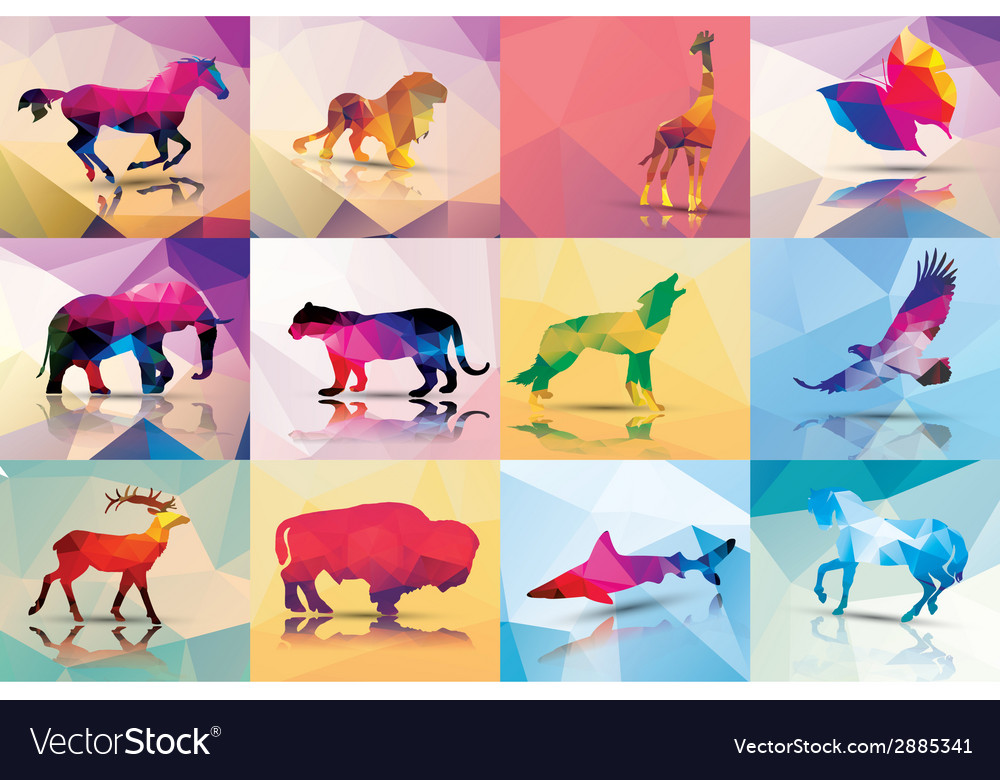 Collection of geometric polygon animals horse lion vector image