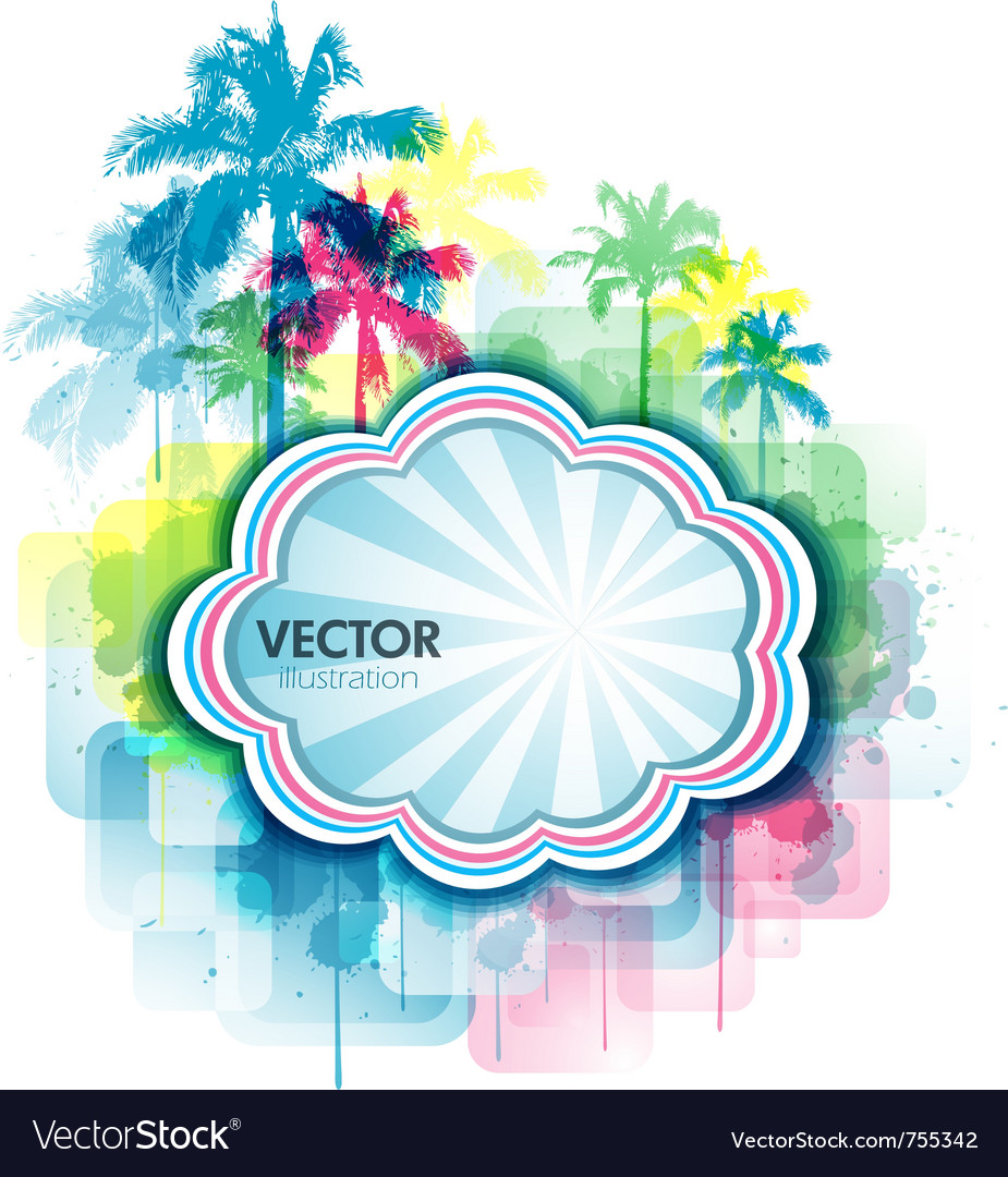 Colorful summer tropical background vector image